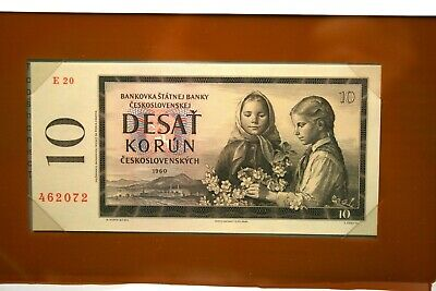 Banknotes of All Nations CU 1960 Czechoslovakia 10 Korun Paper Note (NUM1763)