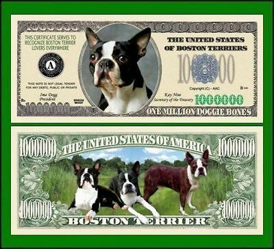 5 Factory Fresh Novelty Boston Terrier Dog Million Dollar Bills