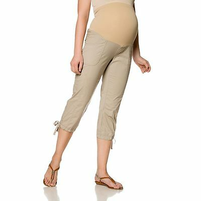 New Oh Baby Motherhood Secret Fit Belly Maternity Poplin Capris Pants Large Nip