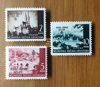EBS Croatia Hrvatska NDH 1942 1st Anniversary Independence Michel No 78-80 MNH**