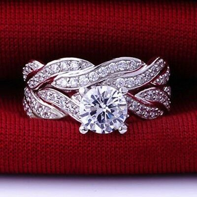 All Size 925 Sterling Silver Ring Wedding Engagement Halo Bridal Promise Propose