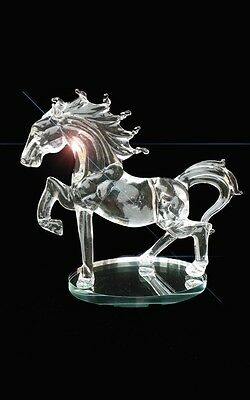 Clear Crystal Horse Roaring Glass Figurine Solid Statues Romany Animal 18cm High