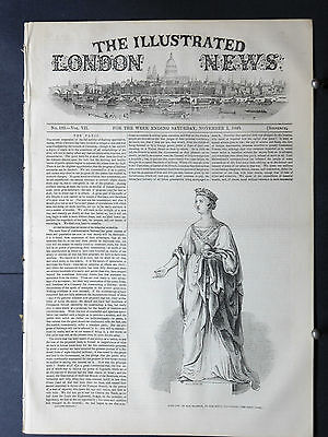 1845-ILLUSTRATED LONDON NEWS- queen victoria,lincoln's inn fields,argentina navy