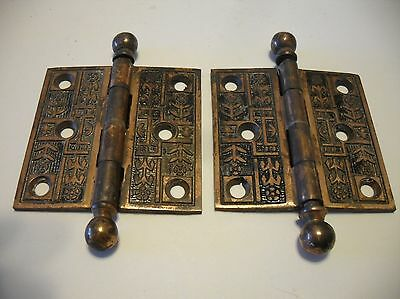 2 VINTAGE Victorian Ball Tip ORNATE Bronze Plated Steel Door Butt Hinges 2-1/2""