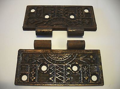 2 VINTAGE Victorian ORNATE Brass Plated Steel Door Butt Hinge Halfs 4-1/2""