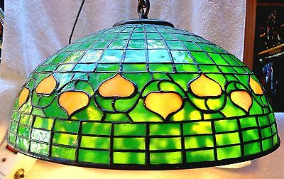 Antique Lct Tiffany Stained Glass Hanging Lamp Acorn Shade Bronze Chain