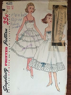 Vintage 1950's Simplicity Misses' Slip Sewing Pattern 4311 Size 12, Bust 30