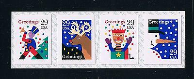 US 1993 Contemporary Christmas Coil Strip of 4 Postage Stamp Issue