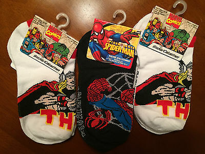 3 Pack Marvel Comics Socks - Thor and Spiderman (Size 6-8)