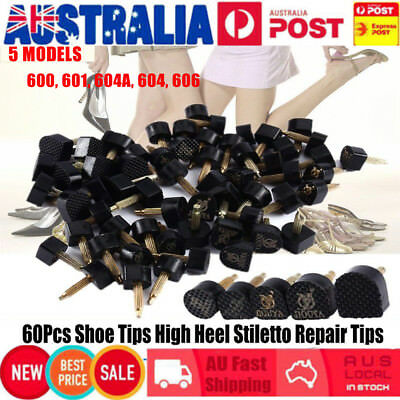Hot Sale 60PCS Mixed Black PU High Heel Shoes Stiletto Repair Tips Cap Plates AU