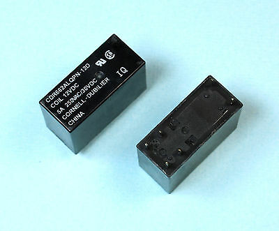 1pc Cornell Dubilier 12VDC Relay, DPST 5 Amps, 250vac