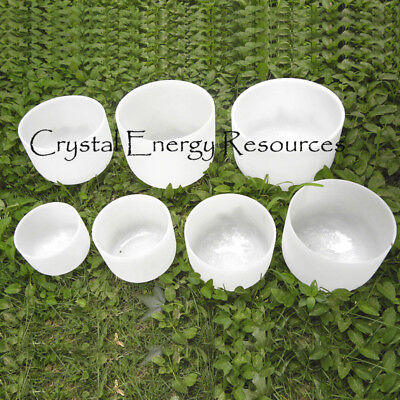 Chakra Set of 7 Frosted Crystal Singing Bowls -- all 10 inch
