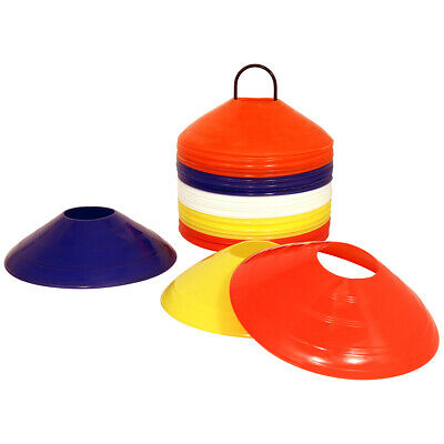 Charles Bentley 50 Multi Coloured Space Disc Training Markers Cones With Stand