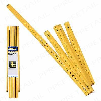 Long Folding 2M Wooden Ruler Rule HIGH VISIBILITY Measuring Metric DIY Carpenter