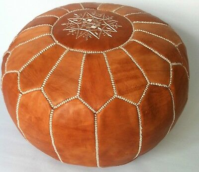 100% Leather Handcrafted Moroccan Pouffe  Camel Brown