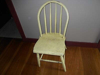 Antique Bentwood Bent Wood Back Chair With Old Yellow Paint