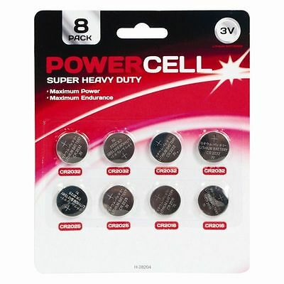 PowerCell 8 Pack Assorted Button Cell Batteries CR2032/CR2025/CR2016 - New
