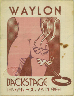 Original WAYLON JENNINGS 1970s Tour Backstage Pass