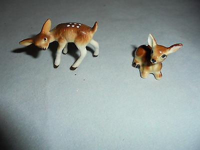 """Reindeer, Fawns Or Deer, 2 Small Bone China 1""""-1.25"""" Tall Retro"""