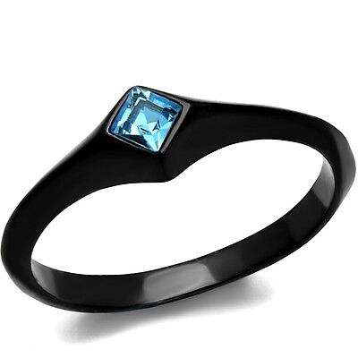 Size 4-12 Black Wedding Engagement Ring Mother Daughter Wife Aquamarine Cocktail