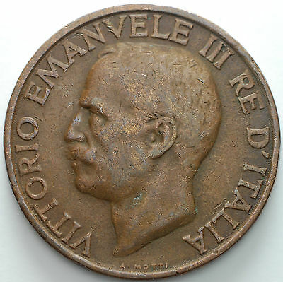 1937   KINGDOM ITALY    10  cent  copper  coin  Bee