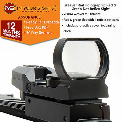 Holographic reflex sight /4 reticle red & green dot sight suits 20mm weaver rail