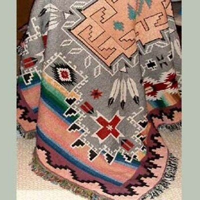 MANY TRAILS Southwest  Tapestry Afghan Throw Blanket