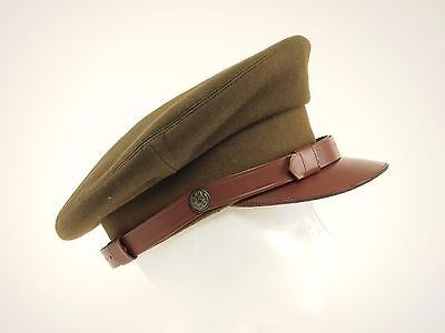 1940s WWII Vintage THE COLUMBIA Wool Leather Pilot/Officer Crusher Cap 6.75