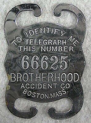 Brotherhood Accident Company Suspenders Badge Early 1900s Mint