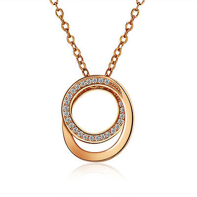 Rose Gold Over 925 Sterling Silver Cz Stone Circle Pendant Necklace Chain Ss2063