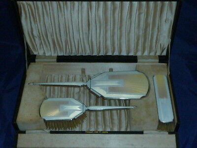 Rare Art Deco Enamelled Sterling Silver Dressing Table Set by CS Green & Co 1936