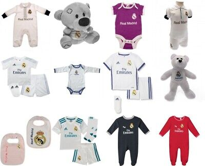 Real Madrid Baby Kit Baby Grow Sleep Suit Body Suit  Booties Hat Teddy Bear Gift