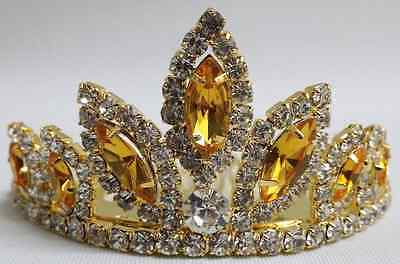 NEW Wedding Pageant Kids Girls Yellow Gold stone Rhinestone Tiara hair comb