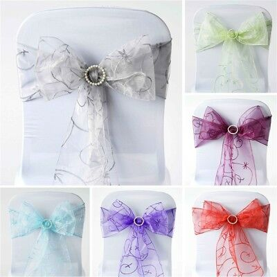150 x Embroidered Organza CHAIR SASHES Ties Bows Wedding Party Decorations SALE
