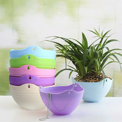 1X Plastic Hanging Flower Pot Chain Plant Planter Basket Garden Home Decor
