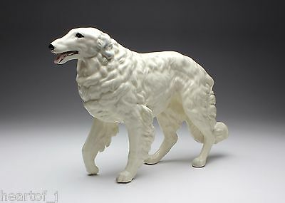 White Borzoi Porcelain Figurine Walking Tiptoe Looking Straight Ahead Japan New
