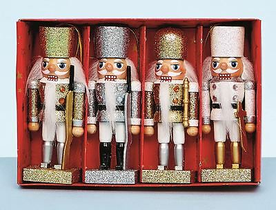 Set Of 4 Xmas Christmas Traditional Wooden Nutcracker Soldier Display Decoration