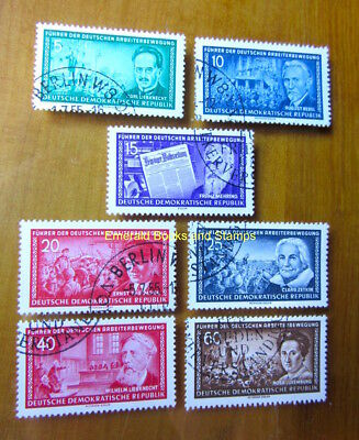 EBS East Germany DDR 1955 Leaders of Workers' Movement Michel 472-478 CTO cv $9