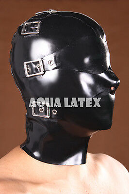 Buckled Straps Rubber Latex Mask Mouth Muzzle Eye Blindfold Enforced Rubber hood