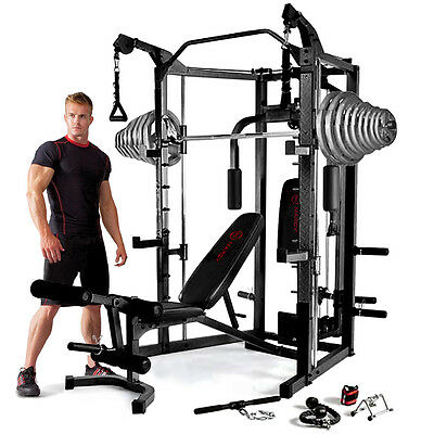 Marcy Eclipse RS7000 Deluxe Smith Machine Home Gym & 125kg Olympic Weight Set