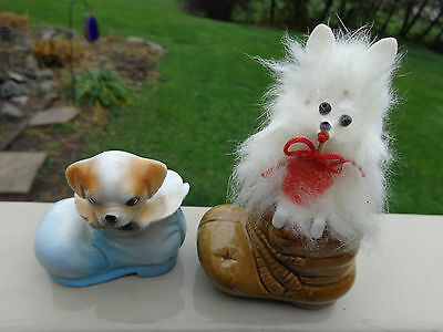 2~Vintage Ceramic Fur Toy Poodle Dog and Puppy In Boot Figurine  Made In Japan
