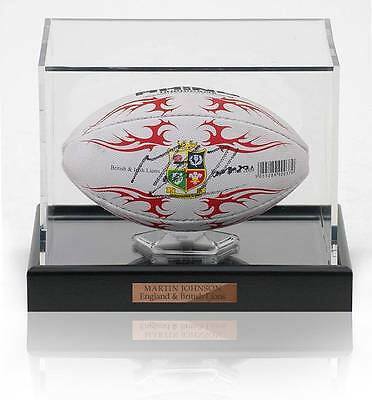 Martin Johnson Hand Signed Mini British Lions Rugby Ball Photo Proof AFTAL COA