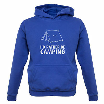 I'd Rather Be Camping -Kids / Childrens Hoodie - Tent - Holiday - Camp