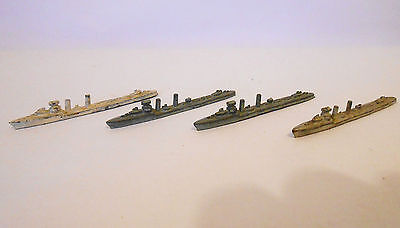 "4 X Pre-War Dinky Toys 50F Broke Class Destroyers ""ships Of The British Navy"""