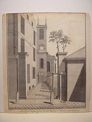 France. «...Parish Church of St. Olave...» Gravure  B.Cole  (engraving, grabado)