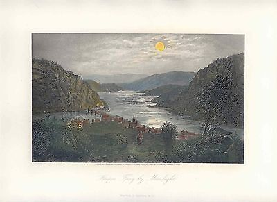 USA «Harper´s Ferry by Moonlight» Drawing G. Perkins. Engraving R. Hinshelwood