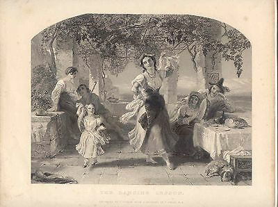 «The dancing lesson» engraved by J. Outrim from a painting of T. Uwins