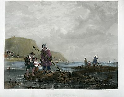 «The young shrimpers» engraving by A. Willmore sobre obra de W. Collins