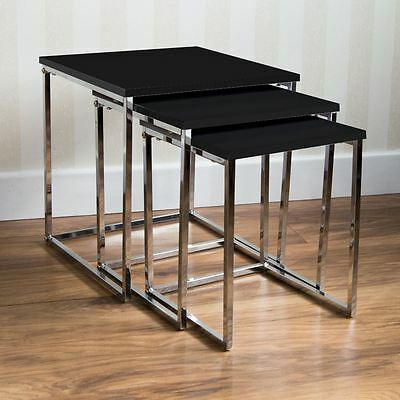 Aztec Nest Of Tables Black Chrome Legs High Gloss Square Top By Home Discount