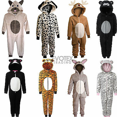Girls Boys Childrens Animal Novelty Fleece Onesie All In One Age 2 - 11 Years